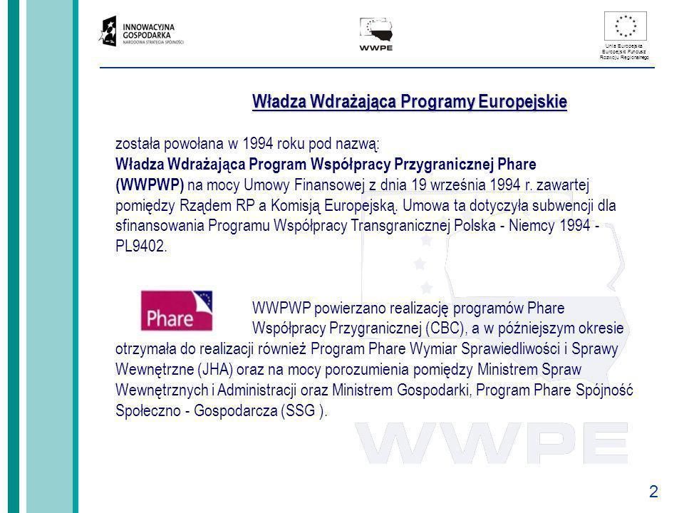 Władza Wdrażająca Programy Europejskie została powołana w 1994 roku pod nazwą: Władza Wdrażająca Program Współpracy Przygranicznej Phare (WWPWP) na mocy Umowy Finansowej z dnia 19 września 1994 r.