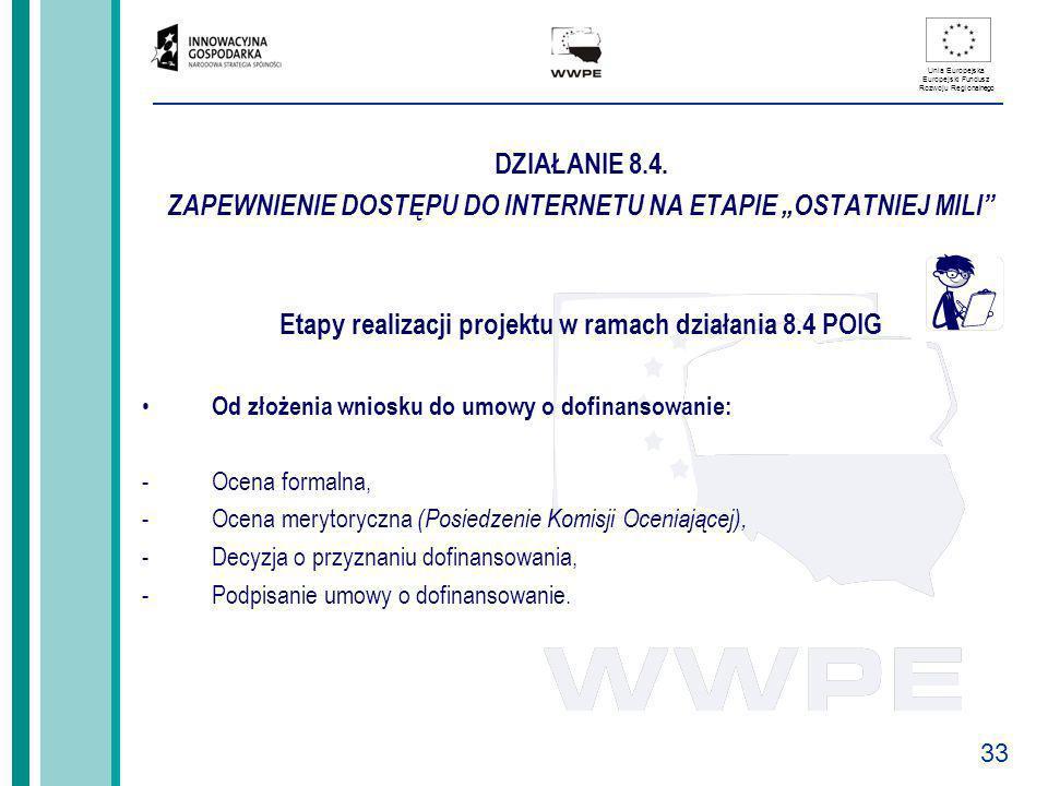 Etapy realizacji projektu w ramach działania 8.4 POIG