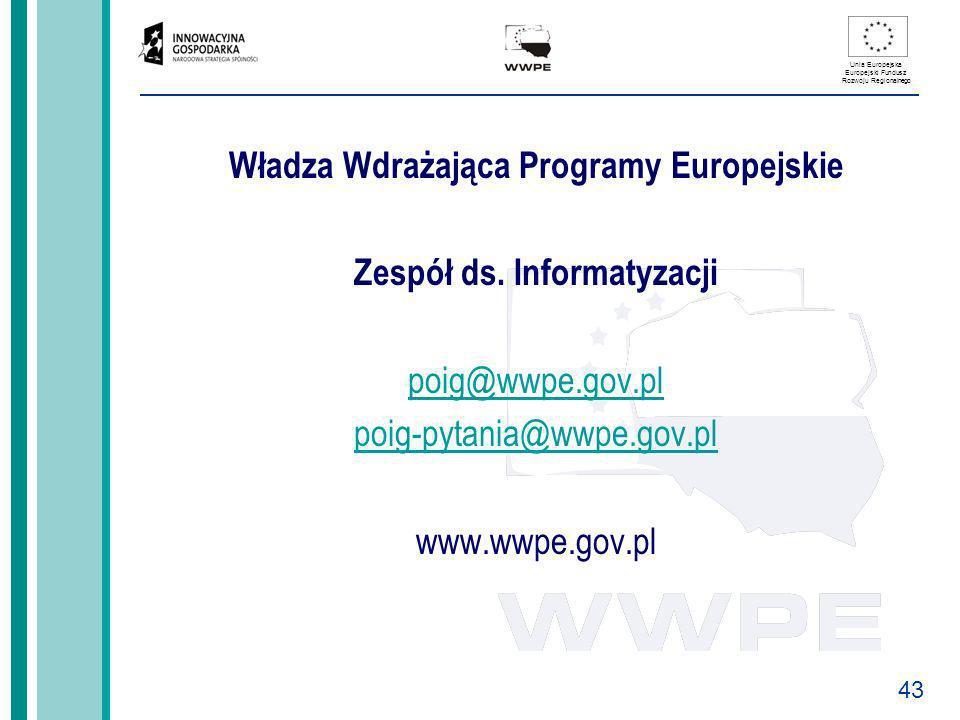 Władza Wdrażająca Programy Europejskie Zespół ds. Informatyzacji