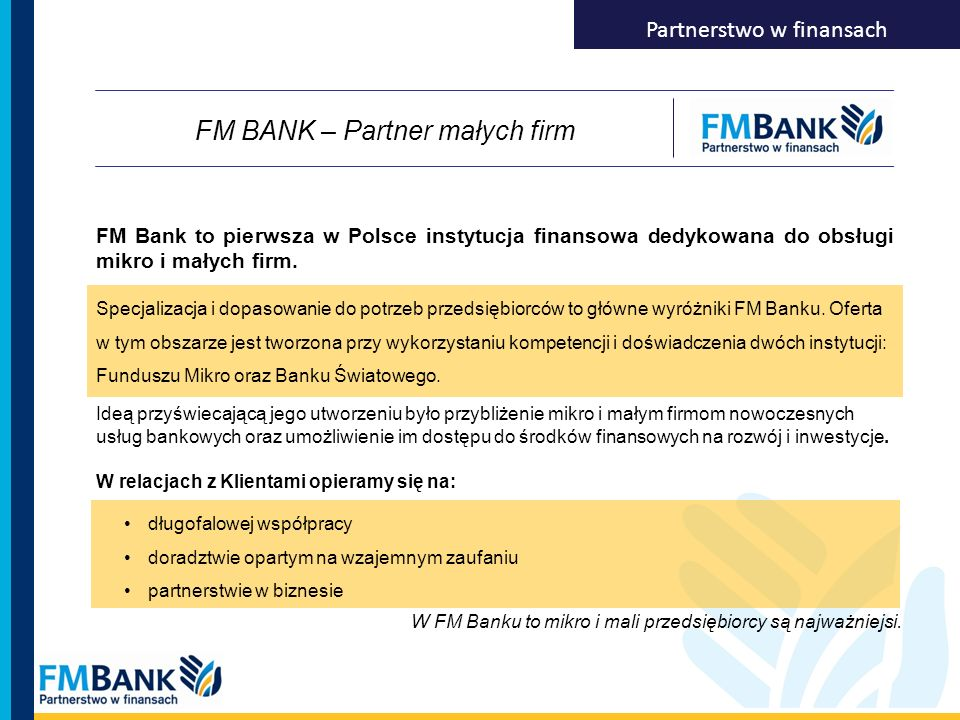 FM BANK – Partner małych firm