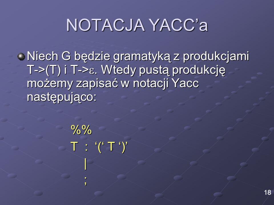 NOTACJA YACC'a Niech G będzie gramatyką z produkcjami T->(T) i T->. Wtedy pustą produkcję możemy zapisać w notacji Yacc następująco: