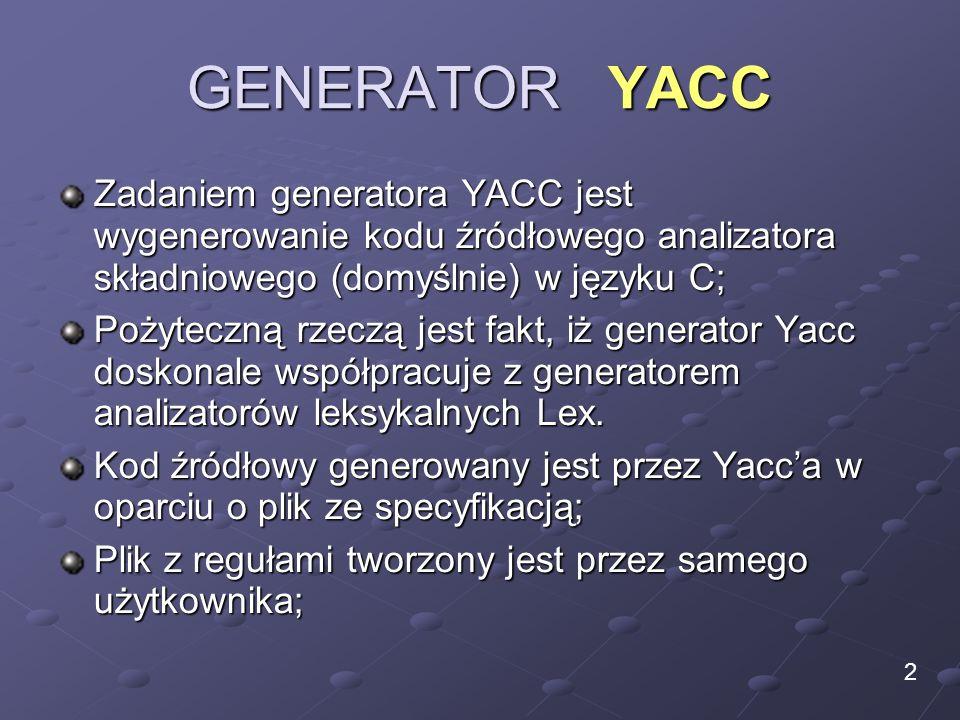 GENERATOR YACC Zadaniem generatora YACC jest wygenerowanie kodu źródłowego analizatora składniowego (domyślnie) w języku C;