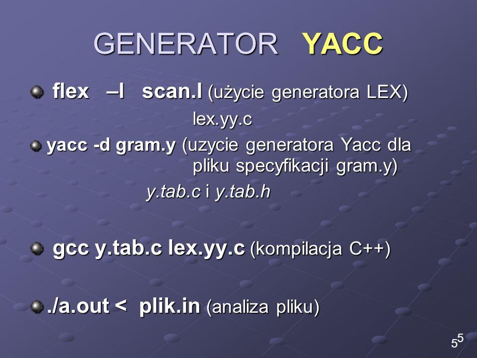 GENERATOR YACC flex –l scan.l (użycie generatora LEX)