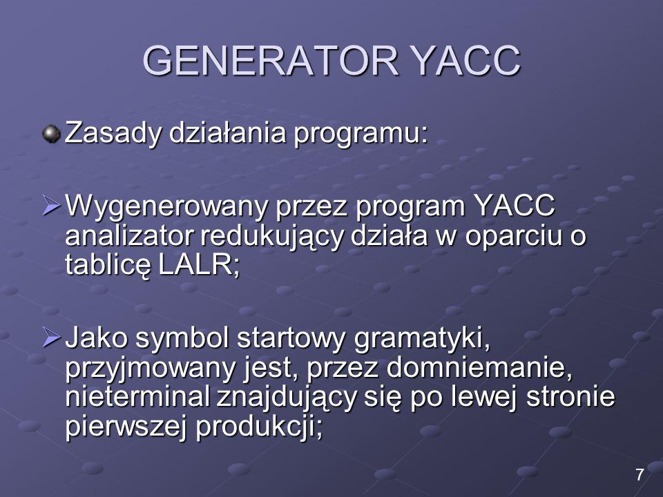 GENERATOR YACC Zasady działania programu: