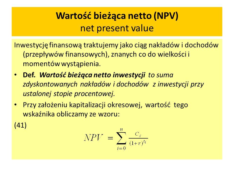 Wartość bieżąca netto (NPV) net present value
