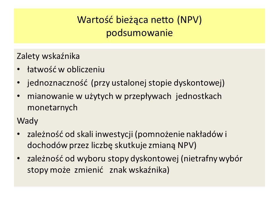 Wartość bieżąca netto (NPV) podsumowanie