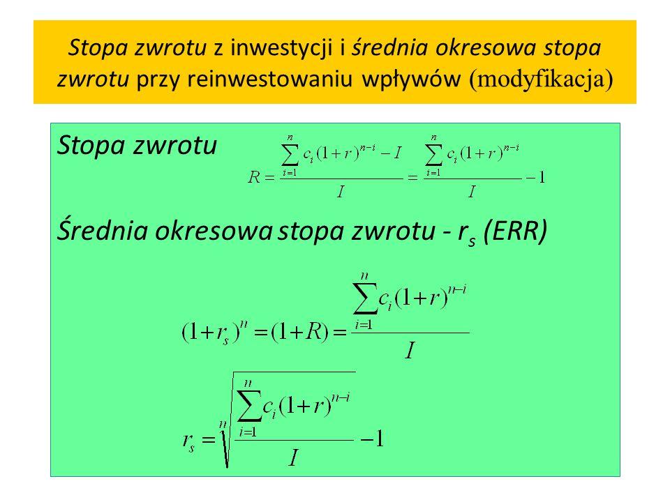 Stopa zwrotu Średnia okresowa stopa zwrotu - rs (ERR)