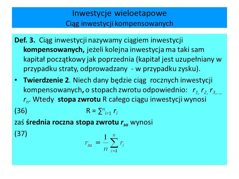 Inwestycje wieloetapowe Ciąg inwestycji kompensowanych