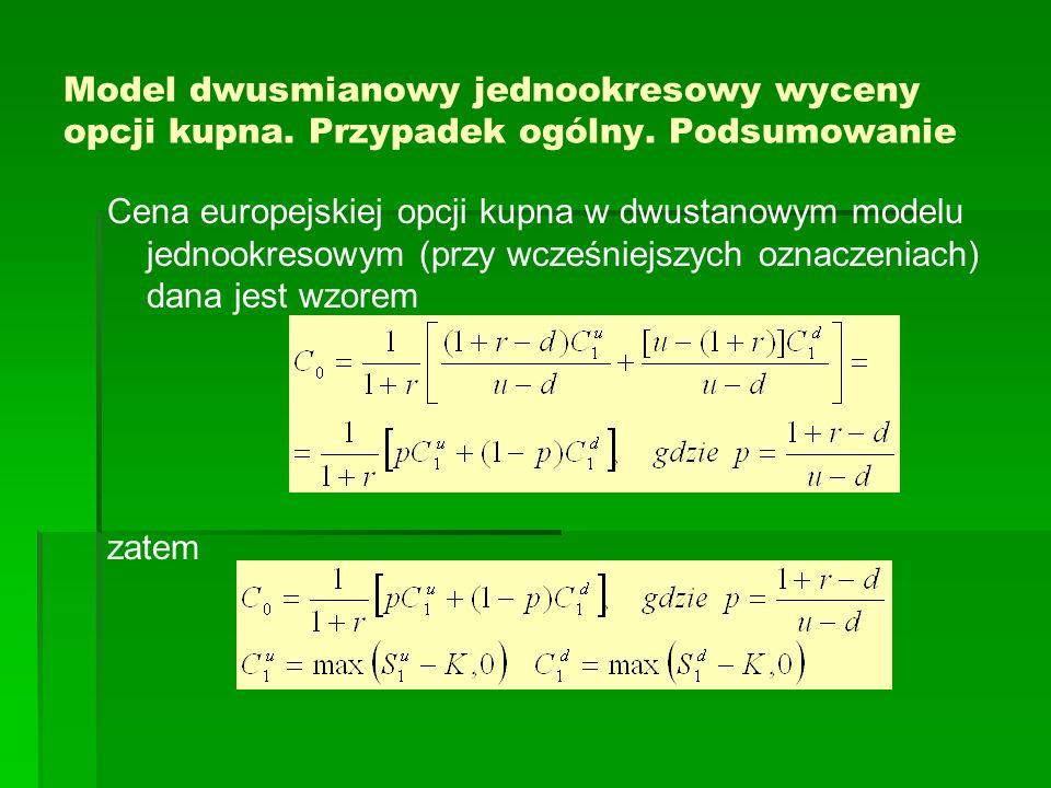 Model dwusmianowy jednookresowy wyceny opcji kupna. Przypadek ogólny
