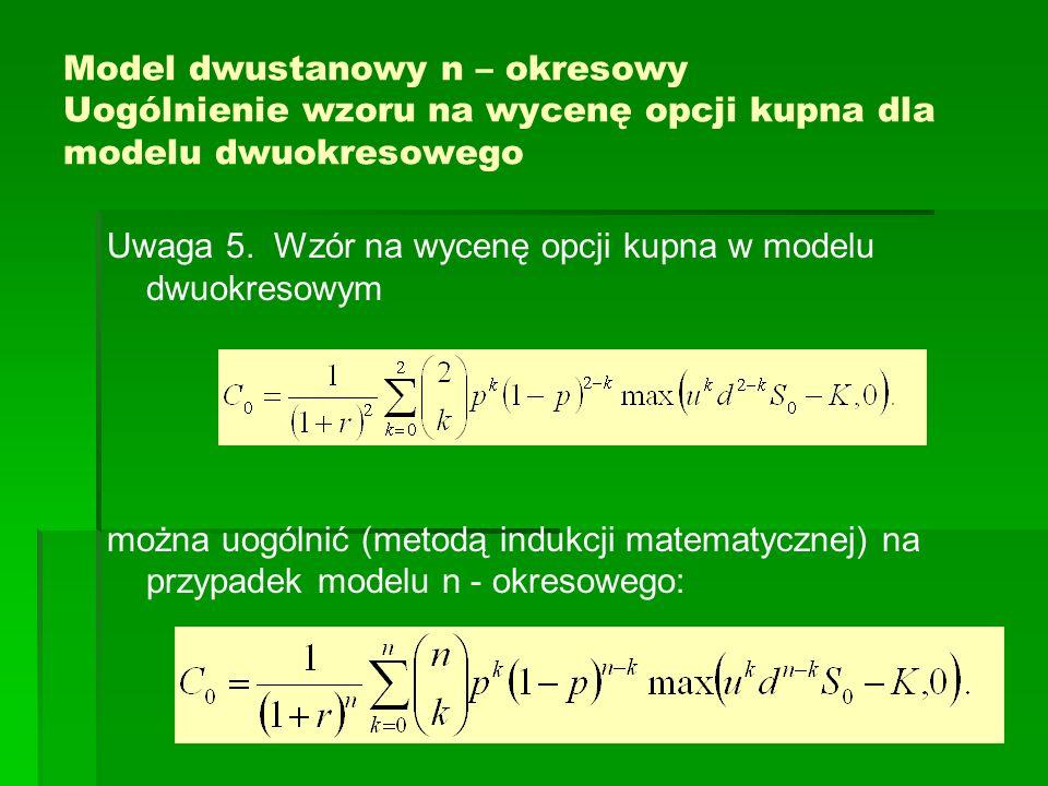 Model dwustanowy n – okresowy Uogólnienie wzoru na wycenę opcji kupna dla modelu dwuokresowego
