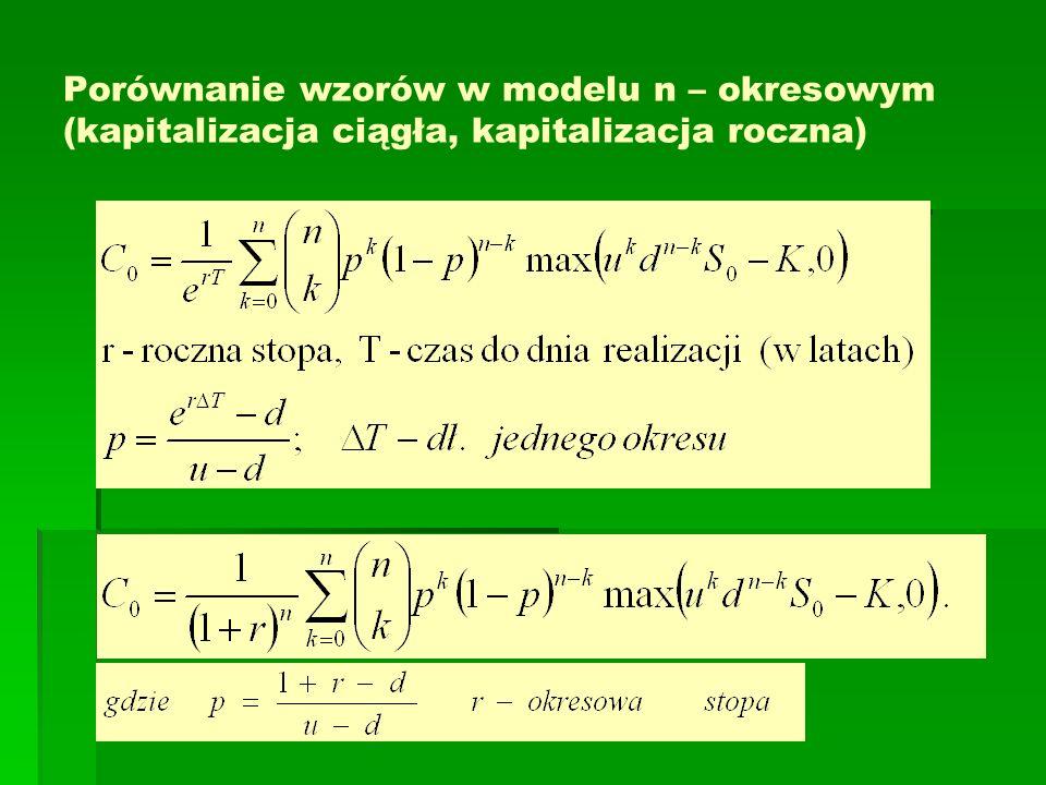 Porównanie wzorów w modelu n – okresowym (kapitalizacja ciągła, kapitalizacja roczna)