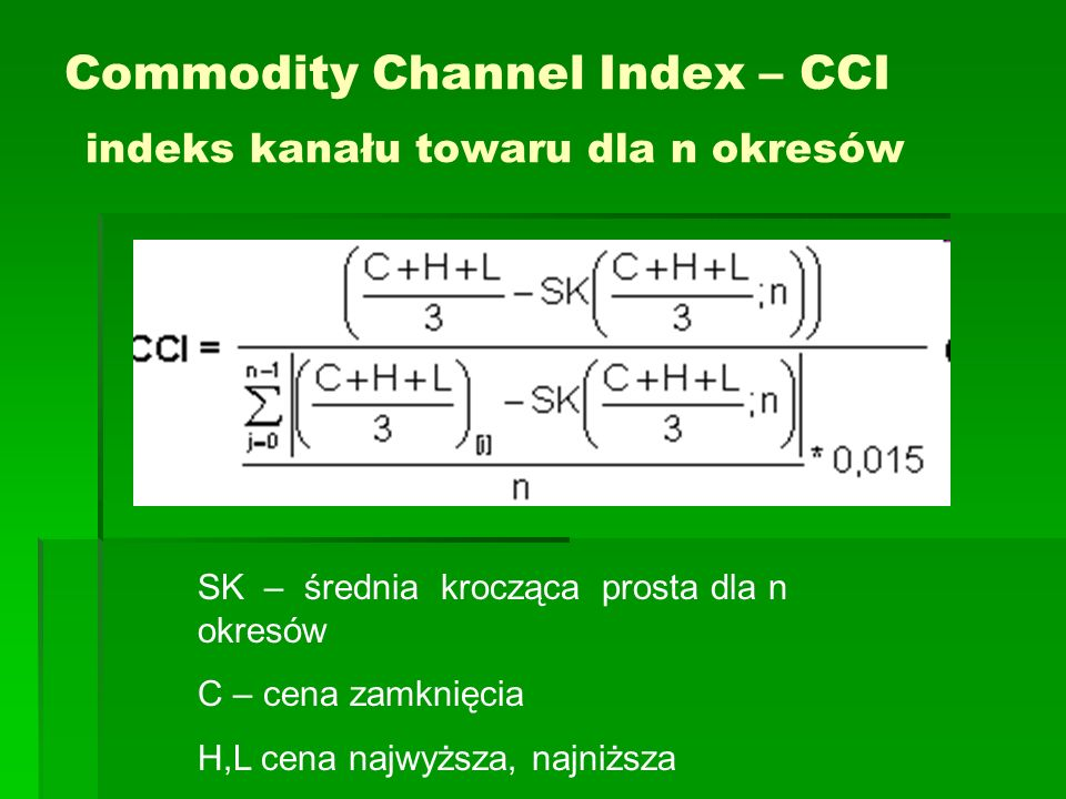 Commodity Channel Index – CCI indeks kanału towaru dla n okresów