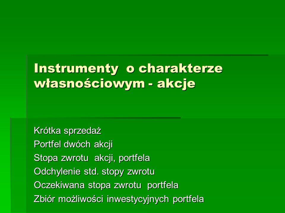 Instrumenty o charakterze własnościowym - akcje
