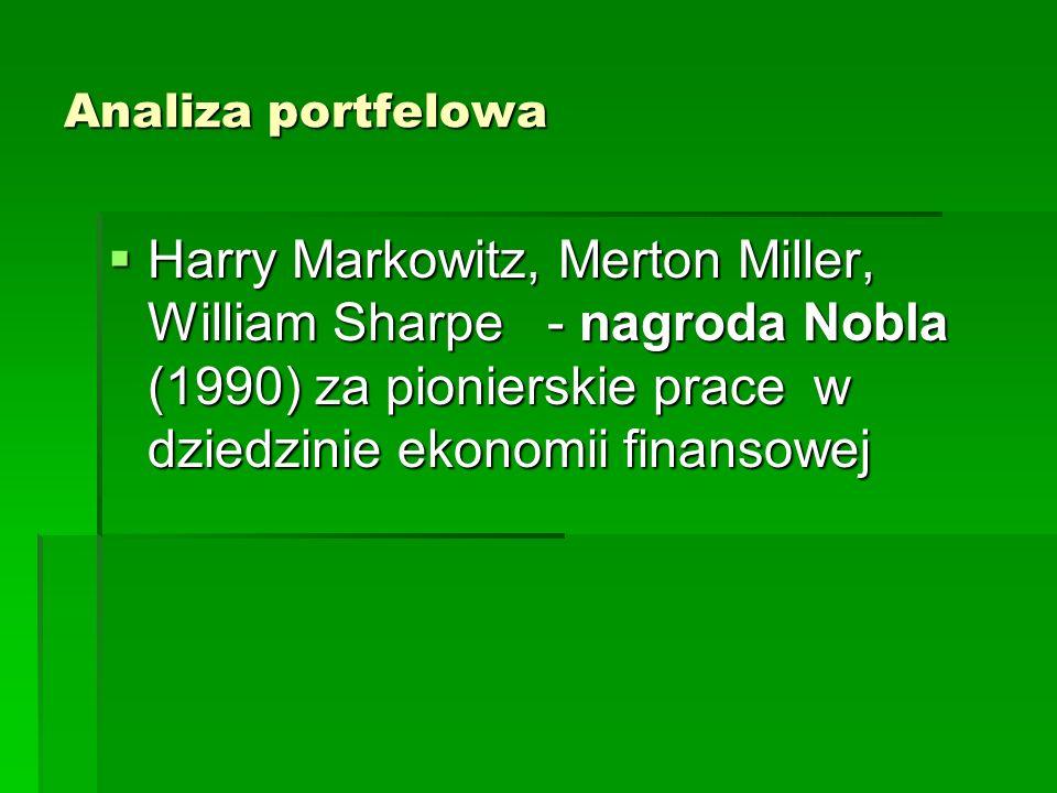 Analiza portfelowa Harry Markowitz, Merton Miller, William Sharpe - nagroda Nobla (1990) za pionierskie prace w dziedzinie ekonomii finansowej.