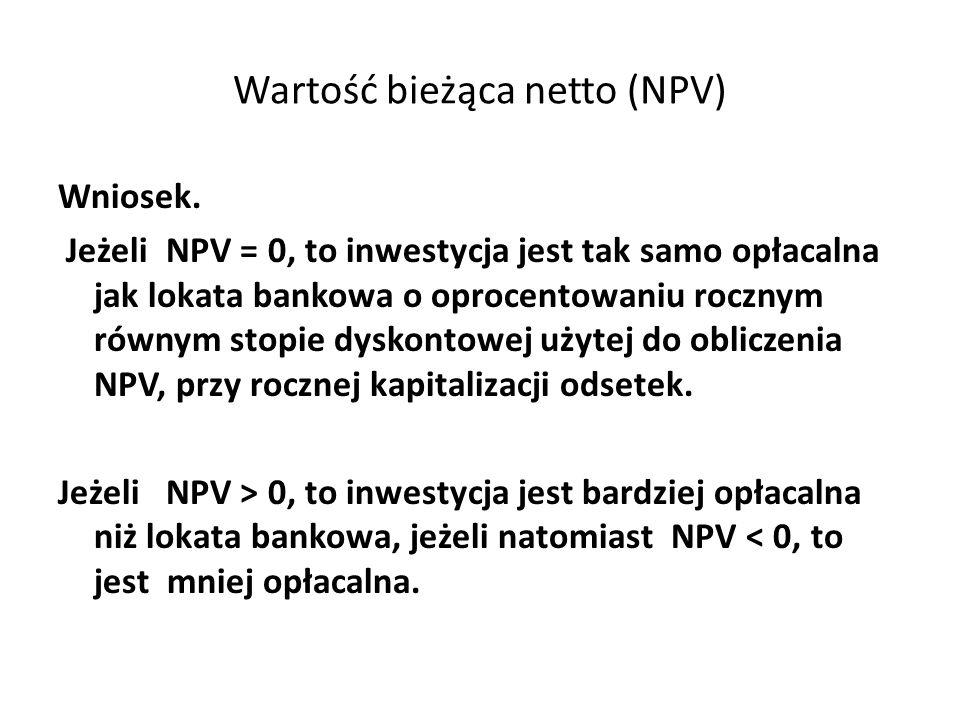 Wartość bieżąca netto (NPV)