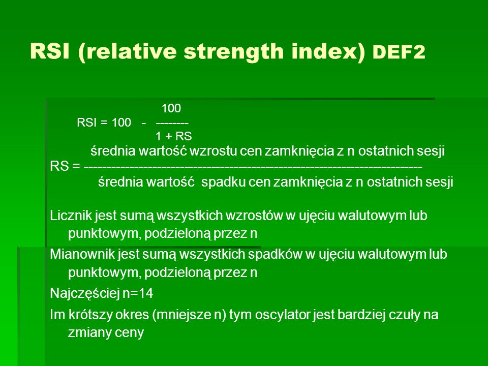 RSI (relative strength index) DEF2