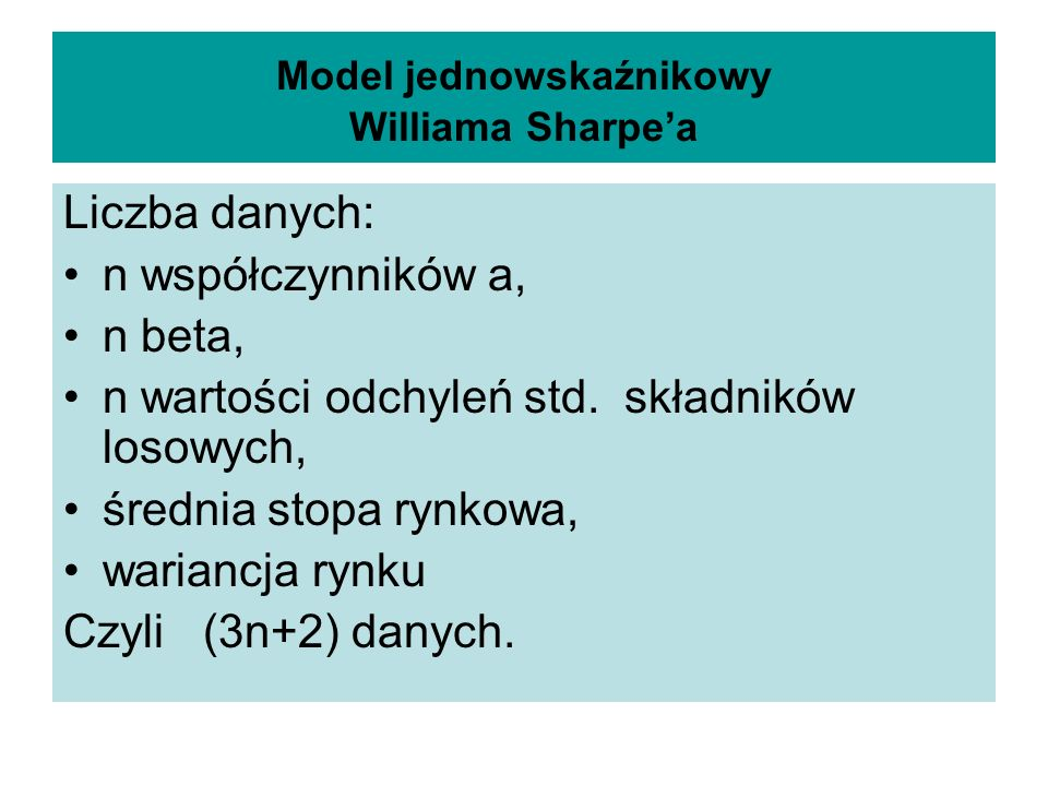 Model jednowskaźnikowy Williama Sharpe'a
