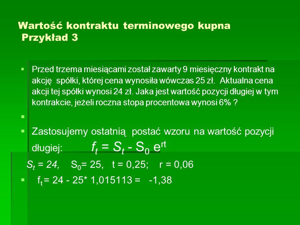 Wartość kontraktu terminowego kupna Przykład 3