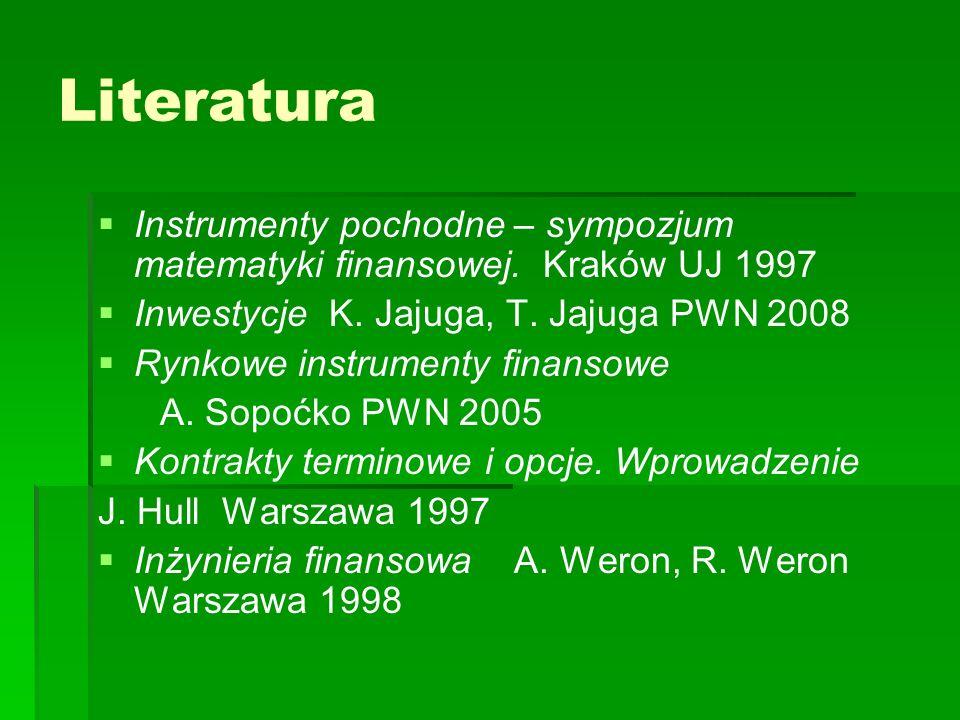 Literatura Instrumenty pochodne – sympozjum matematyki finansowej. Kraków UJ 1997. Inwestycje K. Jajuga, T. Jajuga PWN 2008.