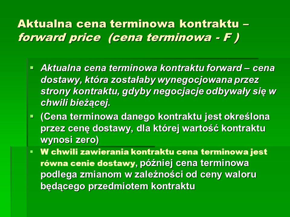 Aktualna cena terminowa kontraktu – forward price (cena terminowa - F )