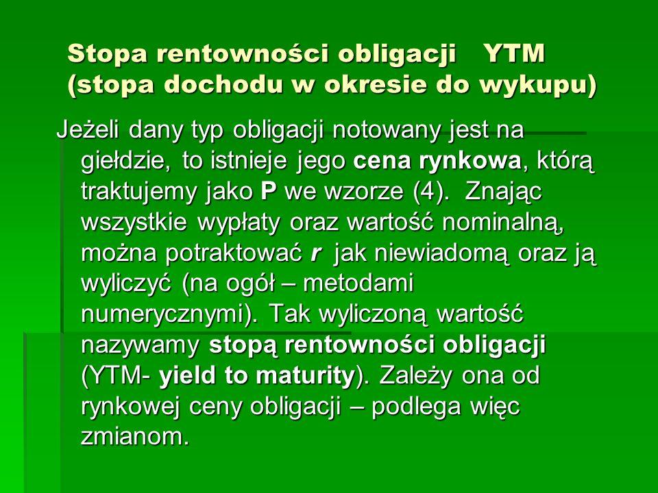 Stopa rentowności obligacji YTM (stopa dochodu w okresie do wykupu)
