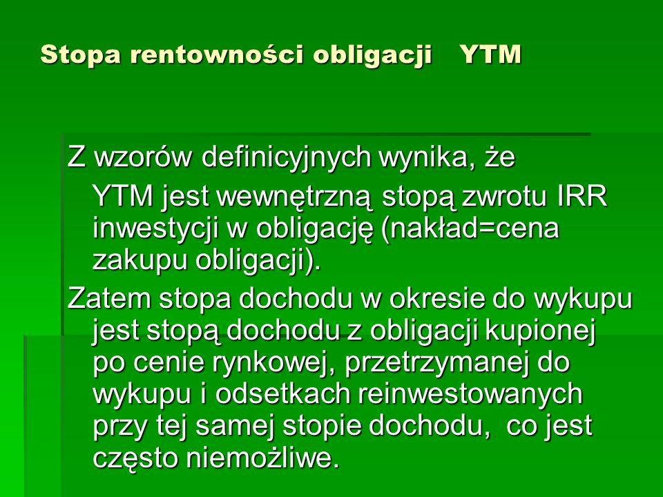 Stopa rentowności obligacji YTM