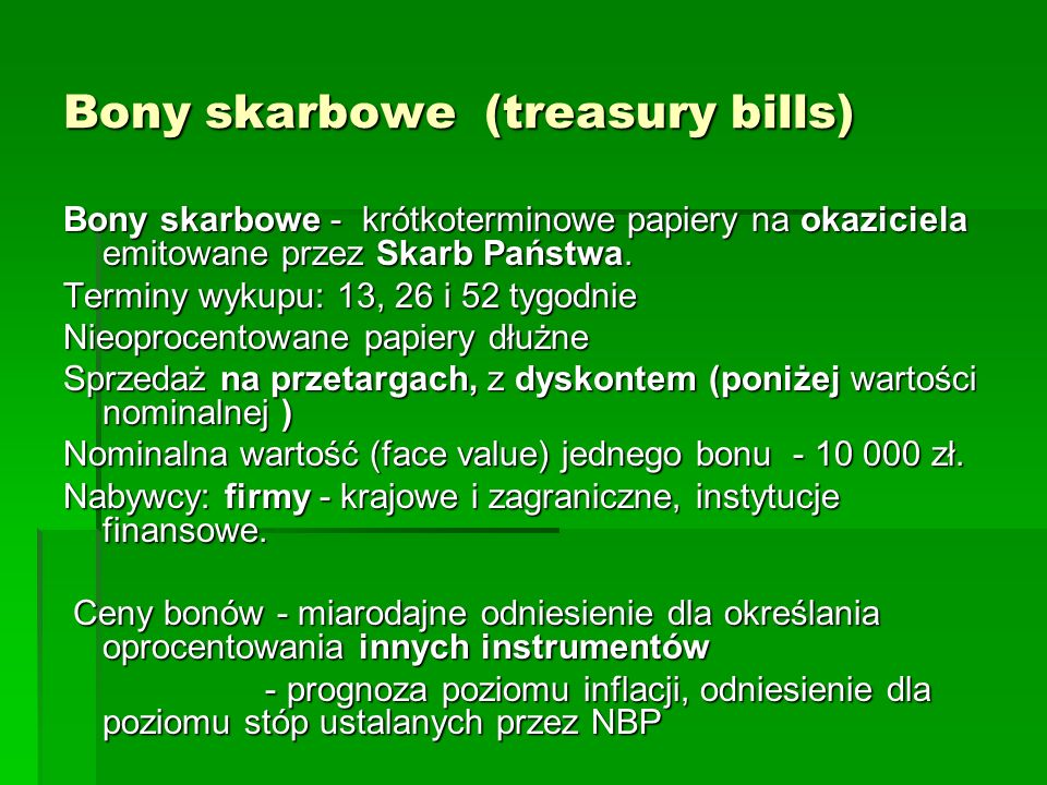 Bony skarbowe (treasury bills)