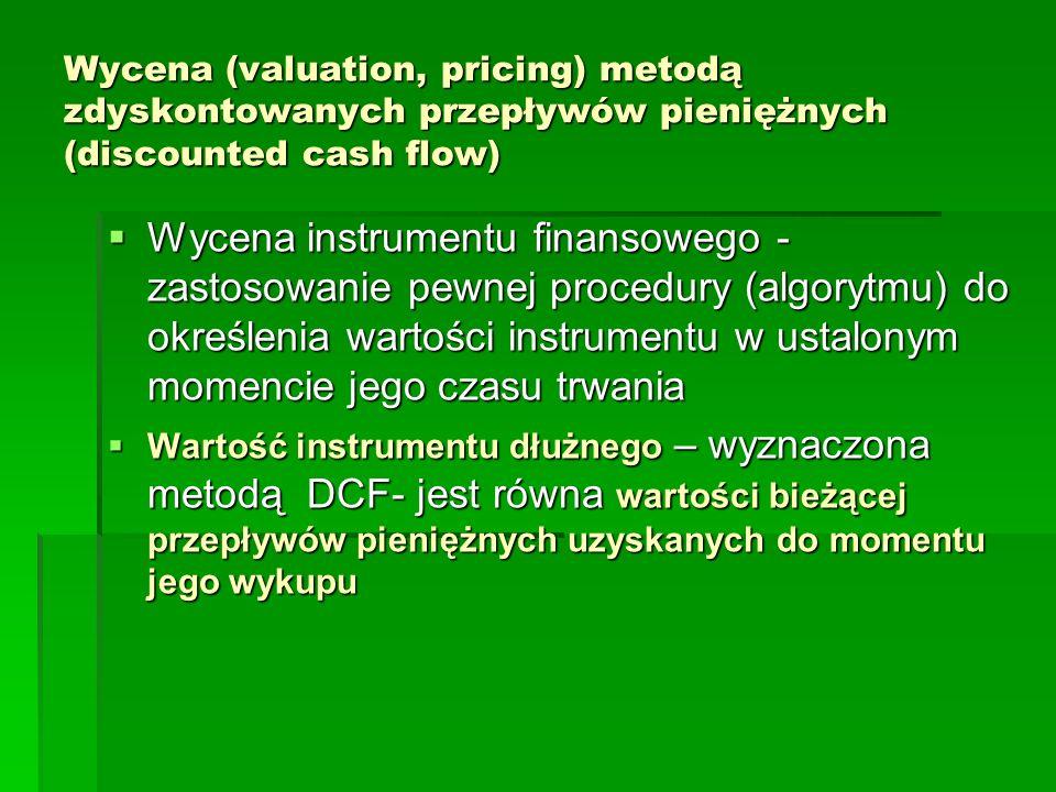 Wycena (valuation, pricing) metodą zdyskontowanych przepływów pieniężnych (discounted cash flow)