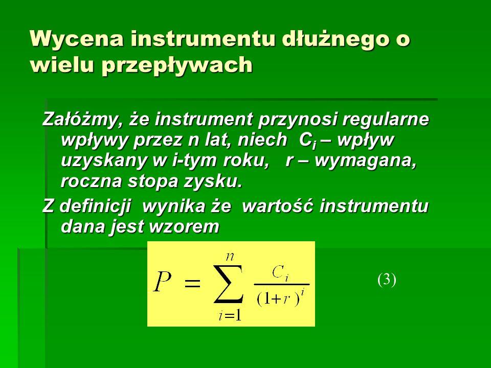 Wycena instrumentu dłużnego o wielu przepływach