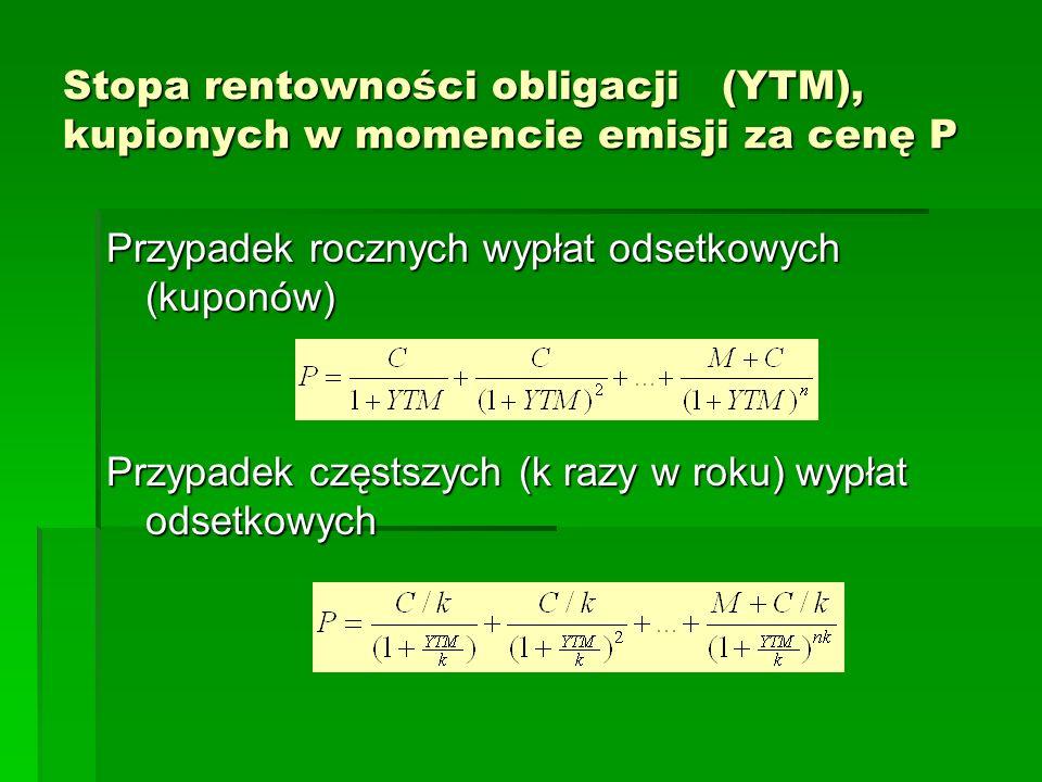 Stopa rentowności obligacji (YTM), kupionych w momencie emisji za cenę P