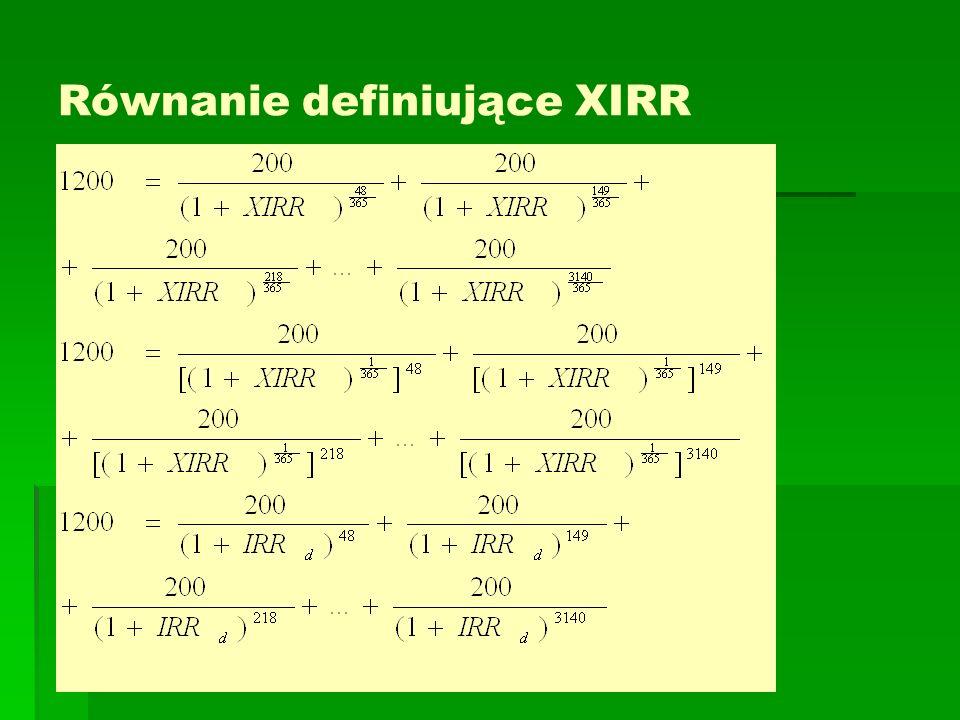 Równanie definiujące XIRR