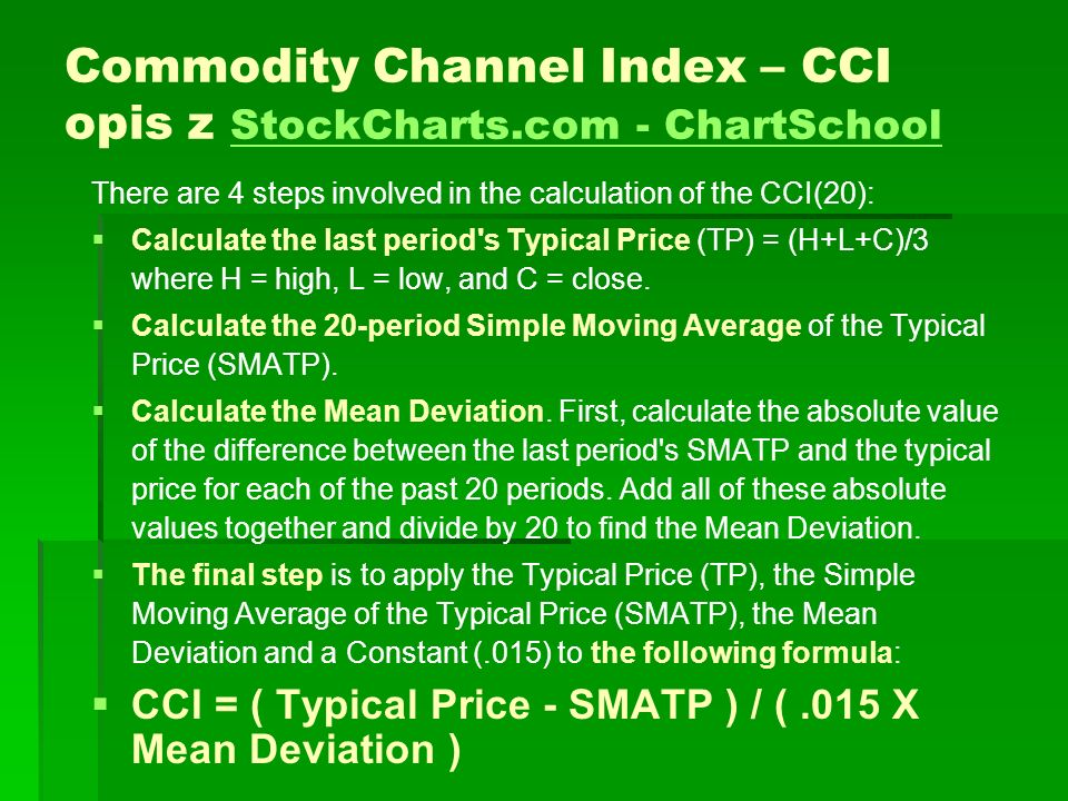 Commodity Channel Index – CCI opis z StockCharts.com - ChartSchool