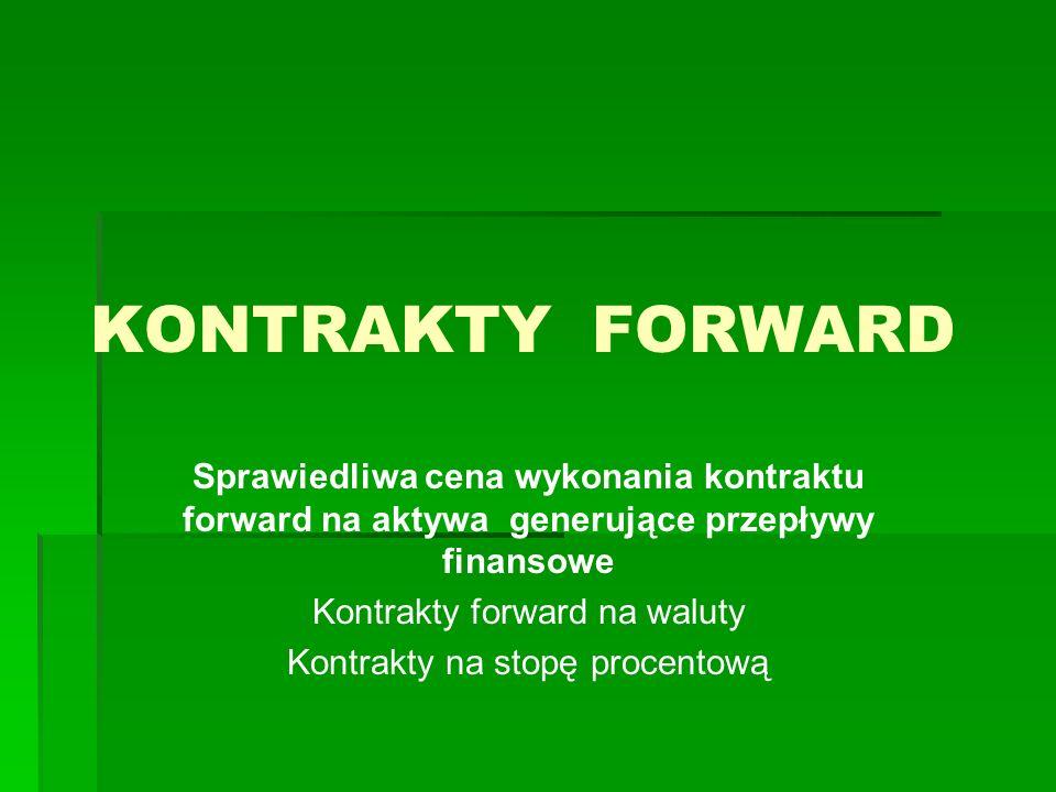 KONTRAKTY FORWARD Sprawiedliwa cena wykonania kontraktu forward na aktywa generujące przepływy finansowe.