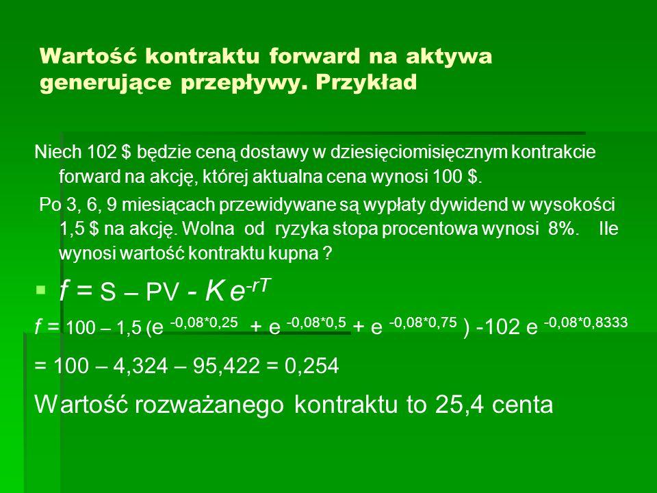 Wartość kontraktu forward na aktywa generujące przepływy. Przykład