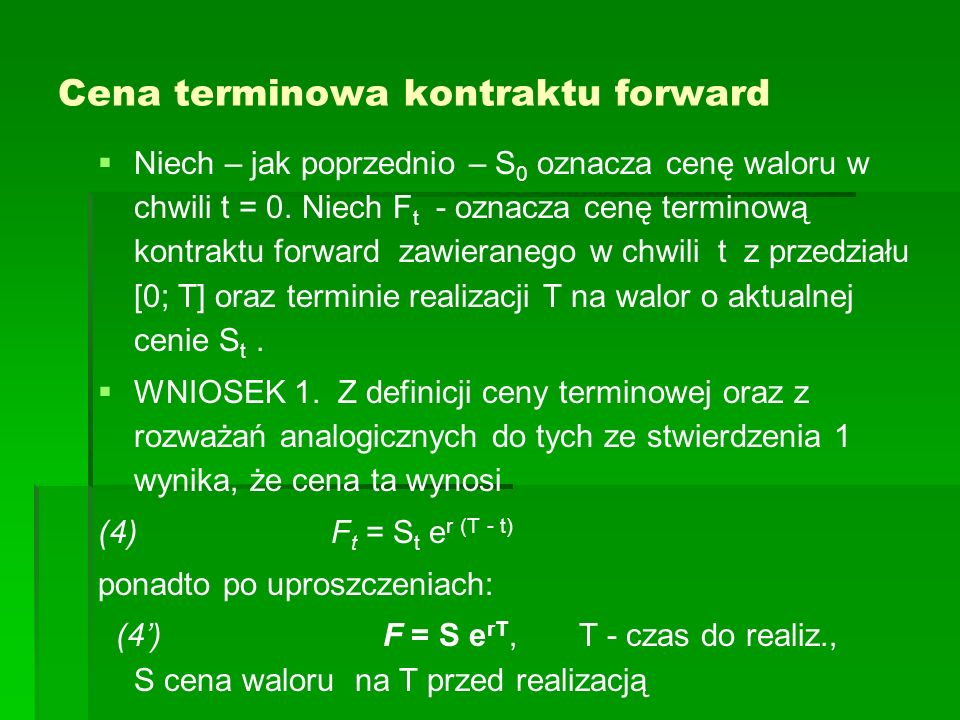 Cena terminowa kontraktu forward