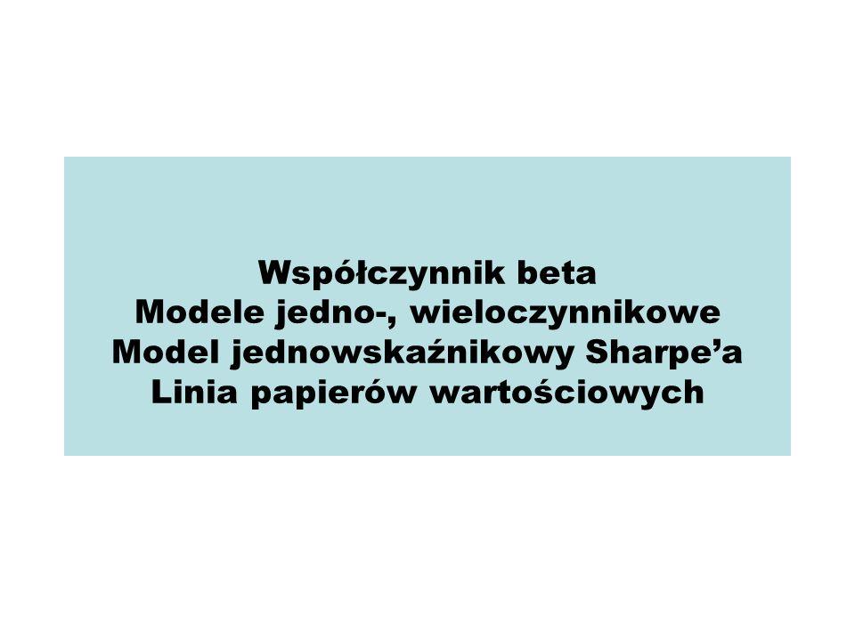 Współczynnik beta Modele jedno-, wieloczynnikowe Model jednowskaźnikowy Sharpe'a Linia papierów wartościowych