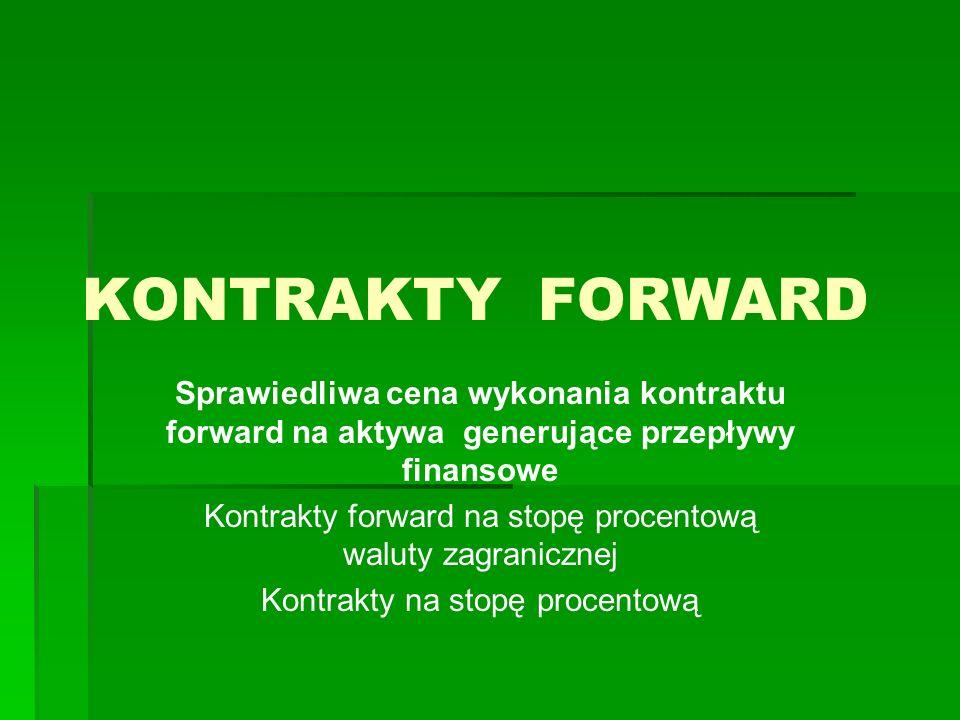 KONTRAKTY FORWARDSprawiedliwa cena wykonania kontraktu forward na aktywa generujące przepływy finansowe.