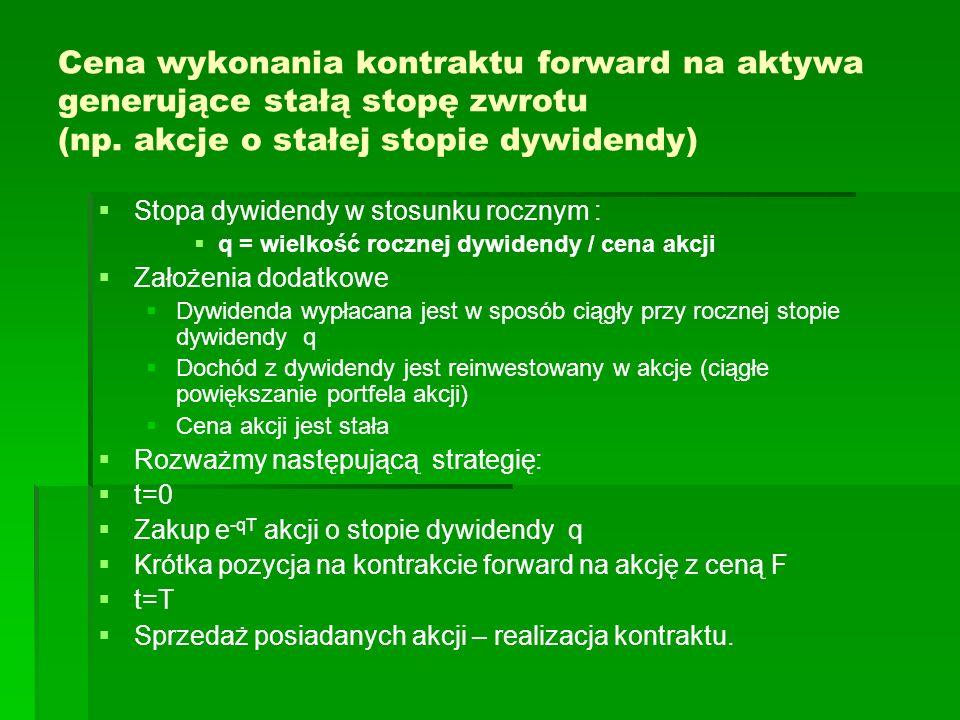 Cena wykonania kontraktu forward na aktywa generujące stałą stopę zwrotu (np. akcje o stałej stopie dywidendy)
