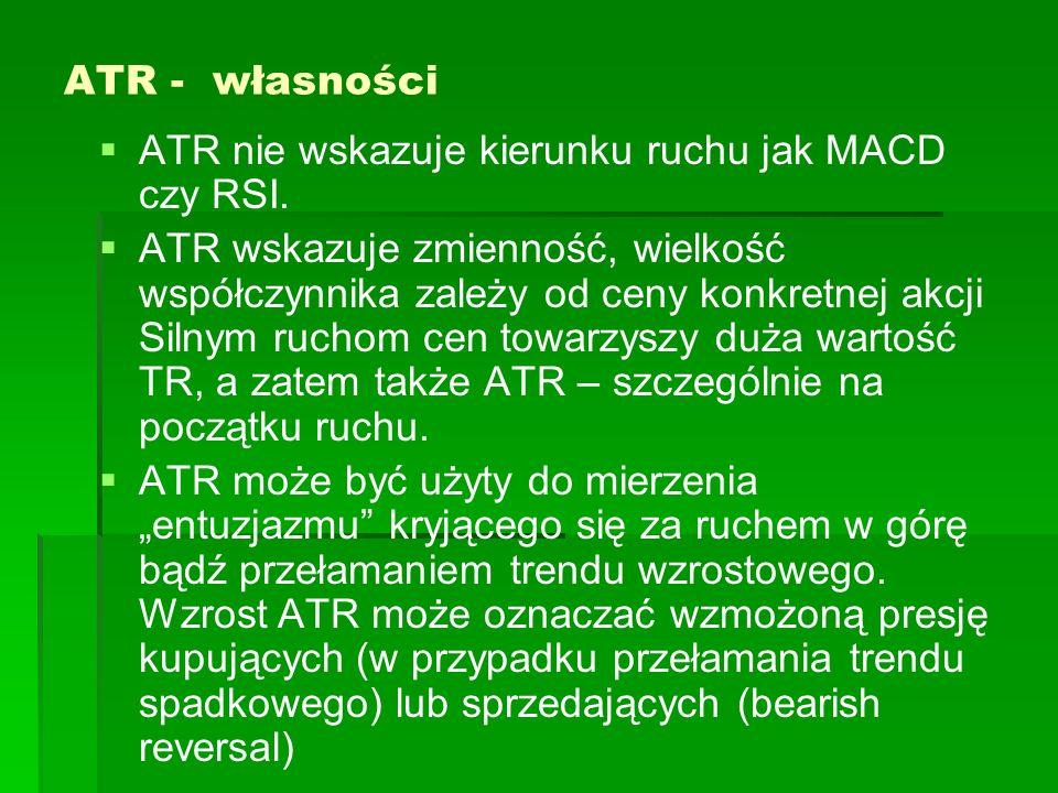 ATR - własności ATR nie wskazuje kierunku ruchu jak MACD czy RSI.