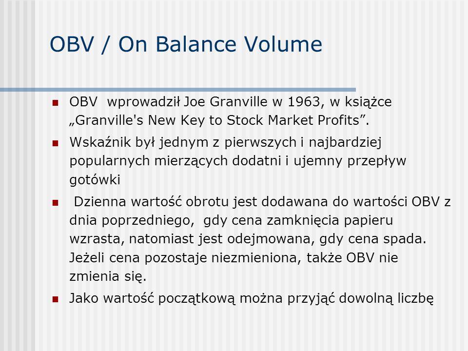 "OBV / On Balance VolumeOBV wprowadził Joe Granville w 1963, w książce ""Granville s New Key to Stock Market Profits ."