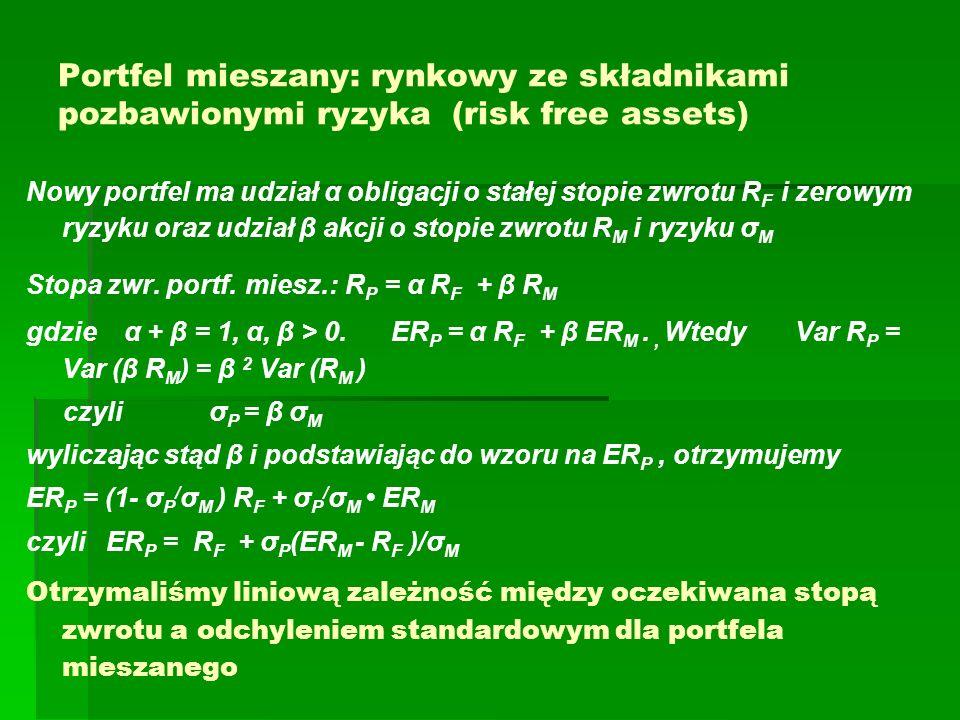 Portfel mieszany: rynkowy ze składnikami pozbawionymi ryzyka (risk free assets)