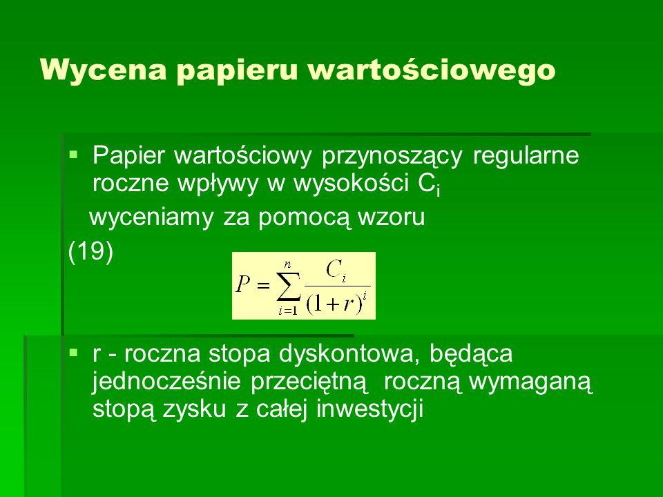 Wycena papieru wartościowego