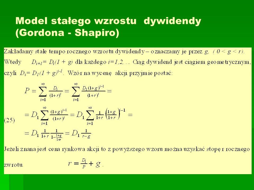 Model stałego wzrostu dywidendy (Gordona - Shapiro)