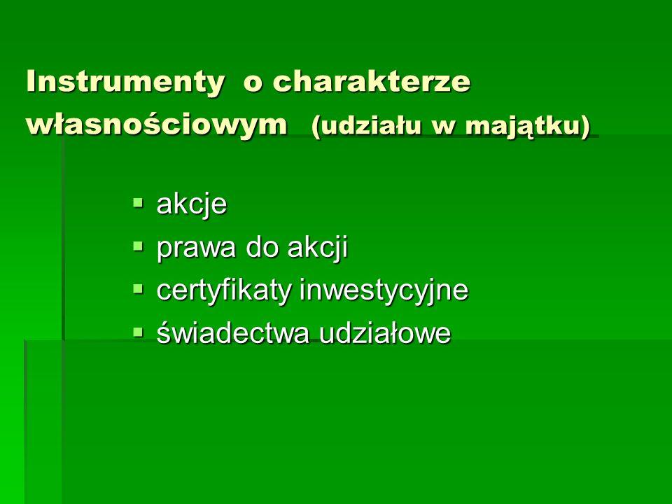 Instrumenty o charakterze własnościowym (udziału w majątku)