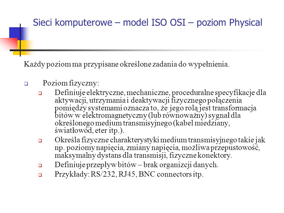 Sieci komputerowe – model ISO OSI – poziom Physical