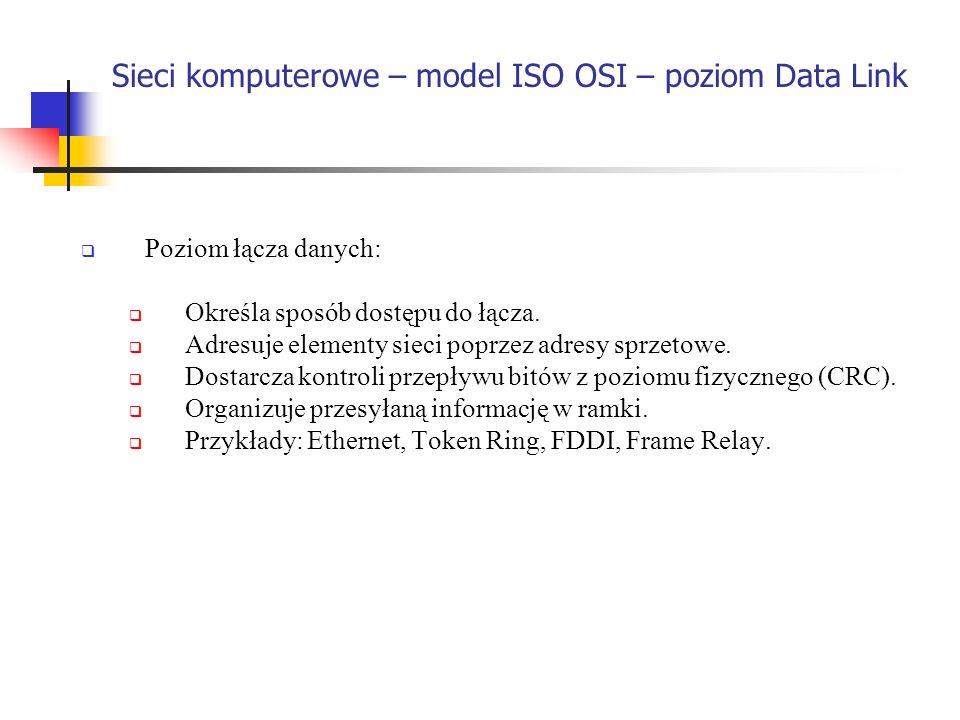 Sieci komputerowe – model ISO OSI – poziom Data Link