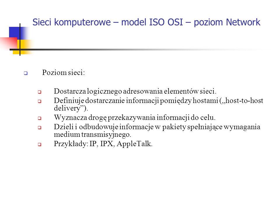 Sieci komputerowe – model ISO OSI – poziom Network