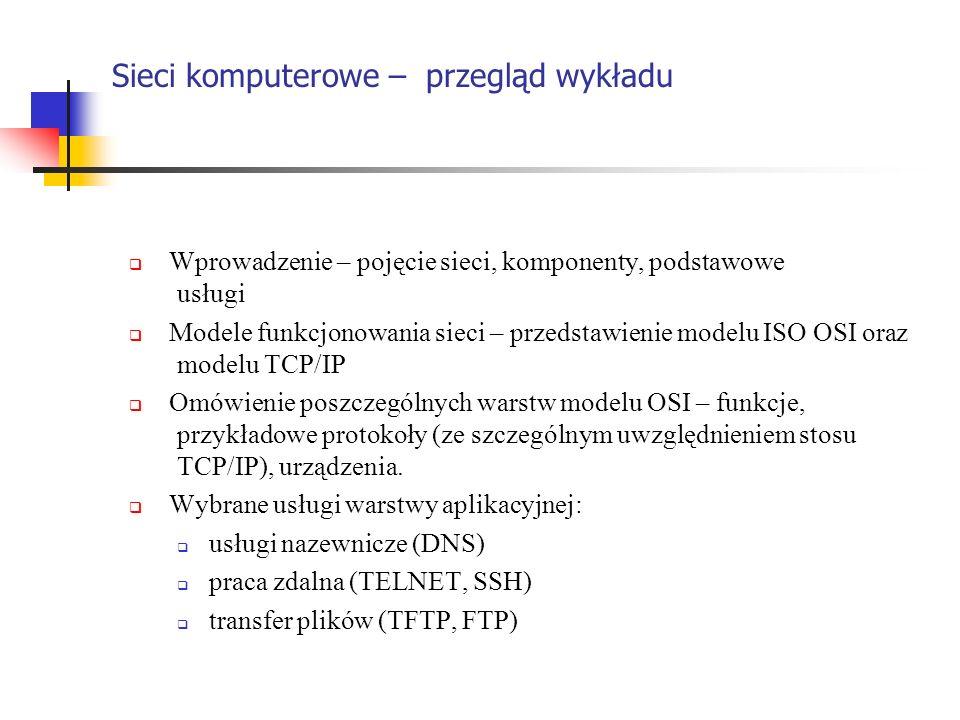 Sieci komputerowe – przegląd wykładu