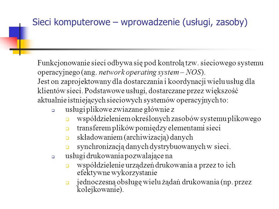 Sieci komputerowe – wprowadzenie (usługi, zasoby)