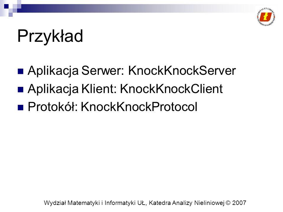 Przykład Aplikacja Serwer: KnockKnockServer